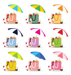 Bag for beach with stuff color set vector