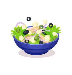 Bowl of mixed salad healthy eating concept vector
