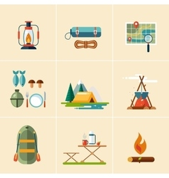 Camping and hiking icons flat design vector