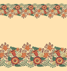 card with floral borders and place for text vector image
