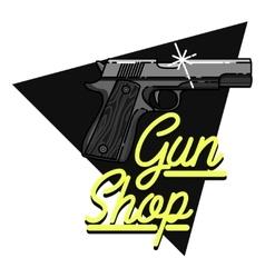 Color vintage guns shop emblem vector