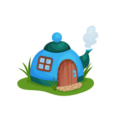 Cute fantasy house in form of blue teapot with vector