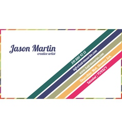 Decorative colorful business card vector image vector image