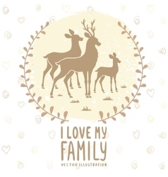 Deer family card vector