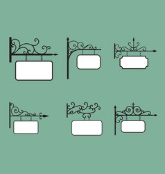 Editable hanging sign and banner in vintage style vector