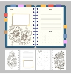 Flat design opened notepad with bookmarks and vector