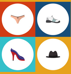 Flat icon clothes set of lingerie heeled shoe vector