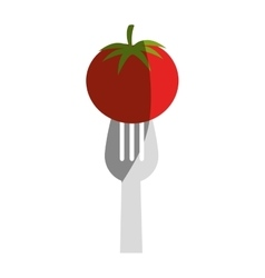fork with fresh vegetable isolated icon vector image vector image