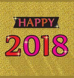 happy 2018 red and pink emblem on golg background vector image vector image