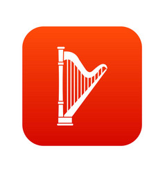 Harp icon digital red vector