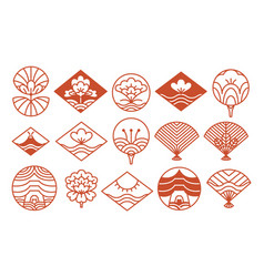 japanese icons collection red vector image