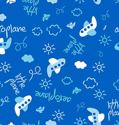Little plane repeat pattern vector