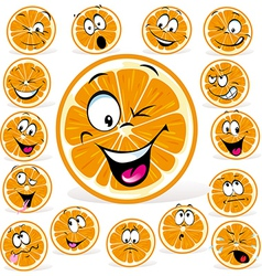Orange cartoon with many expressions vector