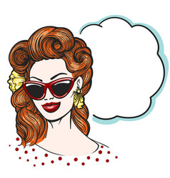 pop art woman in glasses with empty speech bubble vector image vector image