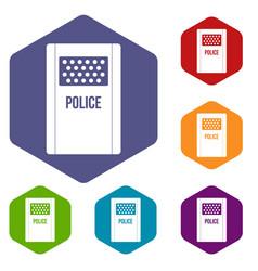 Riot shield icons set hexagon vector