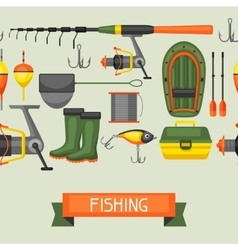 Seamless pattern with fishing supplies background vector