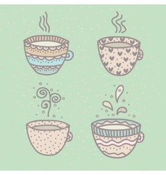 Set of cute cups vector image