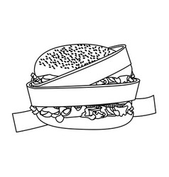 silhouette measuring tape around burger diet food vector image