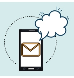 smartphone email cloud chat vector image