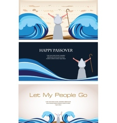 Three banners of passover jewish holiday vector