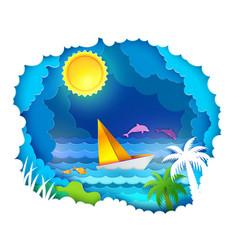 Tropical sea with sun vector