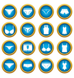 underwear items icons blue circle set vector image
