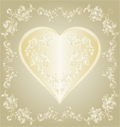 Valentines gold Heart and silver ornaments vintage vector image vector image