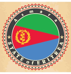 Vintage label cards of Eritrea flag vector image vector image