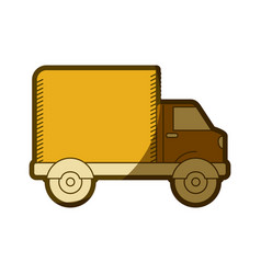 Yellow aged silhouette of truck with wagon vector