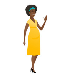 Young african pregnant woman waving her hand vector