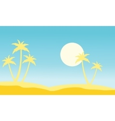 Slhouette of palm and moon stock vector image