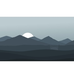 Montain nature landscape on gray background vector