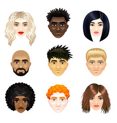 Multicultural people faces set vector
