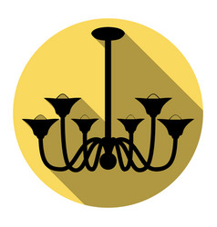 Chandelier simple sign  flat black icon vector