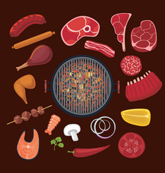 barbeque ingredients set cartoon icons collection vector image