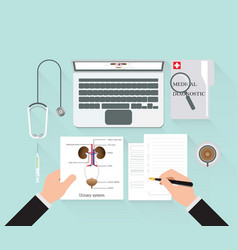 Medical diagnostics conceptual on work table vector