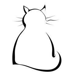 Silhouette of a black cat on a white background vector