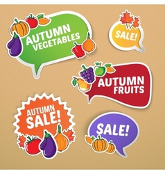 Autumn stickers set with fruits and vegetables vector
