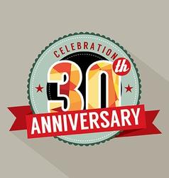 30th Years Anniversary Celebration Design vector image