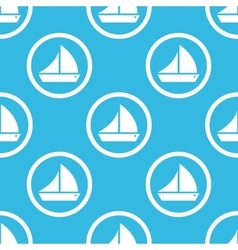 Sailing ship sign blue pattern vector