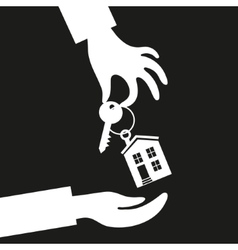 Hand real estate agent holding holds a key with a vector