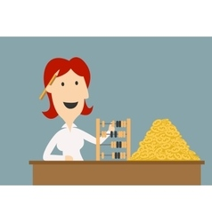 Businesswoman counting gold coins with abacus vector