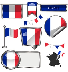 Glossy icons with French flag vector image