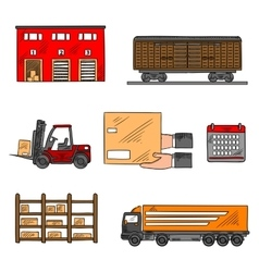 Storage and delivery service elements vector image