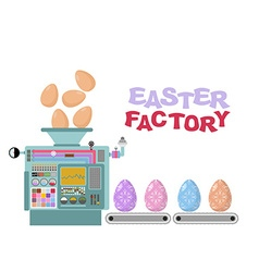 Easter factory production of beautiful eggs vector