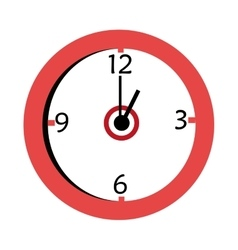 Red and white wall clock graphic vector