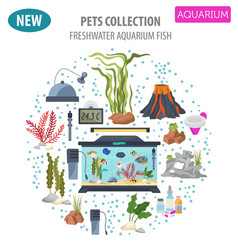 Aquarium appliance icon set flat style isolated vector