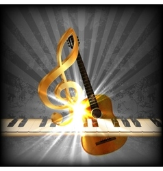 bright musical with a treble clef and piano uno vector image