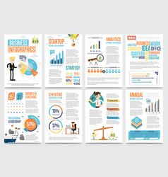 Business infographics banner set with charts vector