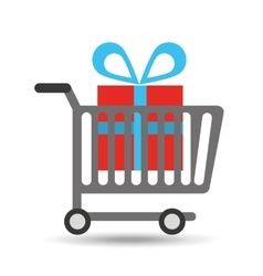 buying cart gift box design vector image
